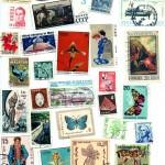 Znaczki z różnych stron świata,  z listów jakie przychodziły do ojca