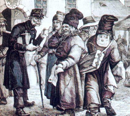 Chłopi galicyjscy przed budynkiem sądu.